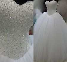 Prinzessin Weiß Elfenbein Kristall Brautkleid Hochzeitskleid 34 36 38 40 42 44+