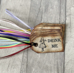 Alice Drink Me Gift Tags Labels Wonderland with Ribbon - set of 10