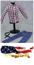 "❶❶1/6 clothes 12"" Figure white red Plaid  long sleeve shirt Jeans US seller❶❶"