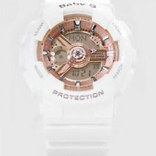 Brand New Casio Baby-G Shock BA110-7A1 Womens White Rose Gold Ana-Digital Watch