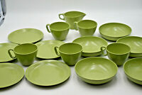 Vintage Rainboware Melmac Melamine Avacado Green Serving Set Bowls Plates Cups