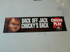 Chucky Child's Play 2 Back Off Jack Bumper Sticker Video Store Horror Cool! 1990