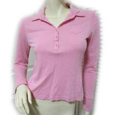 SO Womens Pink Polo T-Shirt Tee Top M Long Sleeve Button Collar Layering Shirts