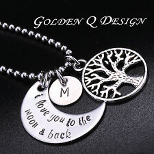 Personalised Family Tree Of Life Name Initial Necklace D131