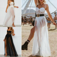 Women Mesh Long Maxi Dress Evening Cocktail Party Cover Up Beach Sundress Swim