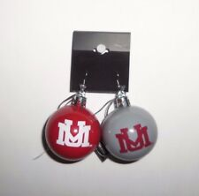 "NCAA Montana Grizzlies Christmas Ornament Earrings 2"" Plastic Ball Red & Gray"