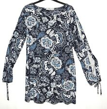 NAVY BLUE WHITE FLORAL LADIES CASUAL TUNIC TOP BLOUSE STRETCH SIZE 8 GEORGE