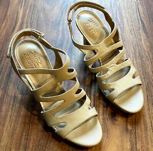 Women's Naturalizer Sandals Size 7.5M Pressley Slingback Beige Ankle Strap EUC