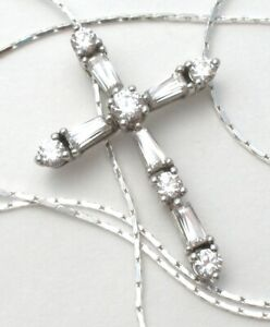 """Clear CZ Cross Pendant Necklace Sterling Silver Chain Cubic Zirconia 16"""" Long"""