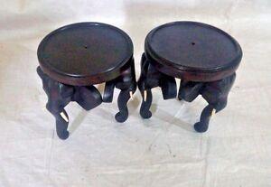 "2 Pcs Mini 4"" Wooden Elephant TABLE Flower pot stand Vase Handcarved Home Decor"