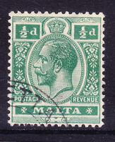 MALTA George V 1922 SG98 1/2d green - watermark Script - superb used. Cat £35