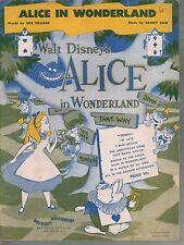 Alice In Wonderland 1951 Alice in Wonderland Walt Disney Sheet Music