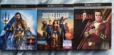 3 4K/Blu-ray Dceu Lot with Slipcovers (Aquaman/Justice League/Shazam) No Digital