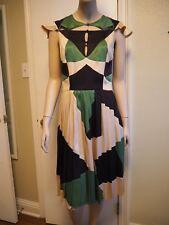 Zac Posen Silk Pleated Dress Harlequin Design Size 6