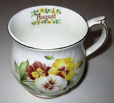 MONTHLY FLOWER - AUGUST TEA CUP - YELLOW, WHITE & RED FLOWER GOLD TRIM