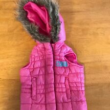COOGI pink puffer jacket vest with faux fur hood Size 3/6 Months