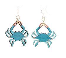 Green Tree Jewelry Blue Crab Wood Wooden Laser Cut Earrings #1590