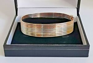 """9ct 375 TRI-COLOUR BANGLE rose yellow white bands 6.75"""" 16mm thick 24.5g"""