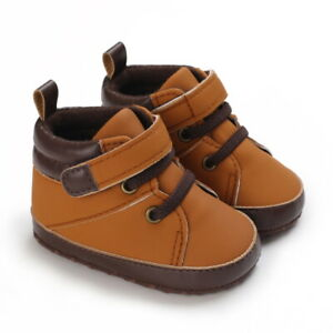 Newborn Baby Boy Crib Shoes Infant Toddler PreWalker Trainers High Top Sneakers