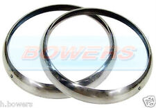 "PAIR OF CHROME TRIMS RINGS BEZELS CLASSIC CAR 7"" SEALED BEAM HEADLIGHT LAMP MINI"
