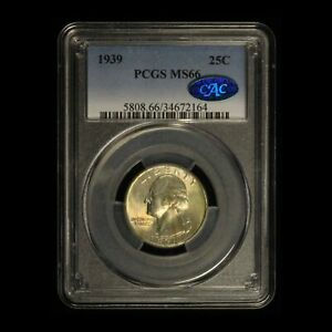 1939 25c Washington Quarter PCGS & CAC MS66 - Free Shipping USA