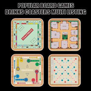 Classic Board Games - Hot Drinks Coasters / Bar Mat - Hardboard / Gloss Finish