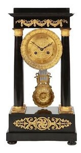 19th Century French Gilt Bronze Mounted Ebonized Portico Clock