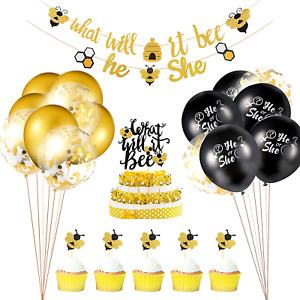 23 Pieces Gender Reveal Party Decorations Set, What Will it Bee Banner He or She