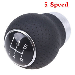 Universal Aluminum Car Manual 5 Speed Gear Shift Knob Shifter Round Ball Leather