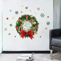 Merry Christmas Gift Wreath Wall Window Stickers Decals XMAS Home Shop Decor US