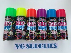 Silly String x 6 Cans Yellow, Green, Purple, Red, Blue, Pink 200ml Cans NEW