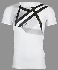 Armani Exchange RIGHT SIDE UP Mens Designer T-SHIRT Premium WHITE Slim Fit $45