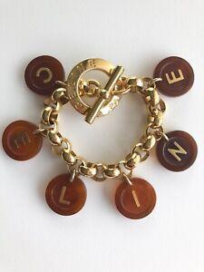Vintage Celine Paris Logo Charm Bracelet Made In Italy Gorgeous
