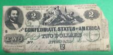 1862 $2 Us Confederate States of America! Old Us Currency! Rough! Deuce!