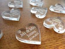 Personalised Wedding Decorations Favours Clear Heart Decoration Favours Gifts
