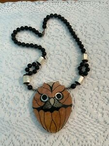 Lee Sands Abstract Owl Inlay Marble Stone & Pearl Wood Bead Statement Necklace