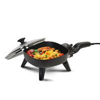 ELITE CUISINE Non Stick SKILLET, 7 inch Mini Black ELECTRIC Fry Pan w/ Glass Lid