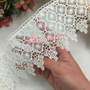 1yd Polyester Lace Trim Ribbon Appliques Embroidered Dress Sewing Crafts BF60