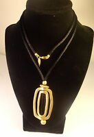"""28"""" """"Coldwater Creek""""  Brushed Gold Plated Pendant on Velour Cord"""