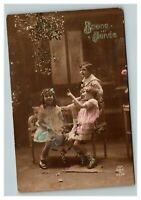 Vintage 1910's Colorized Photo Postcard Three Cute Kids in French Garden