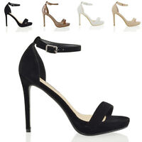 Womens Ankle Strap Stiletto Heel Platform Sandals Ladies Peep Toe Party Shoes