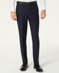 $225 Dkny Men's Modern-Fit Stretch Windowpane Suit Separate Pants Blue 32X30