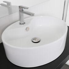 Lavabo appoggio ovale in ceramica 50x40 cm bianco lavandino lavello bagno arredo