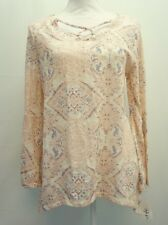 Style & Co Womens Bell Sleeve Crisscross Neck Printed Knit Top Cream Pink XL