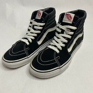 VANS Sk8-Hi Skateboarding Shoes Canvas 721356 Black/White Men's Sz 5.5 Women's 7