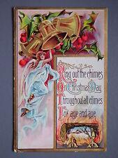 R&L Postcard: Christmas Angel, Holly, Bells, Log Fire, Florence Bamberger