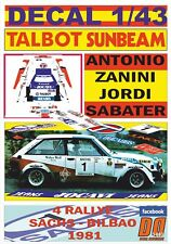 DECAL 1/43 TALBOT SUNBEAM LOTUS A.ZANINI R.SACHS 1981 WINNER (01)