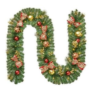9ft LED Royal Easter Pre-Lit Decorated Pine Holiday Christmas Garland Wreath.