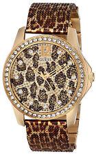 Guess U0333L1 Animal Print Dial Gold Tone Mesh Strap Women's Watch