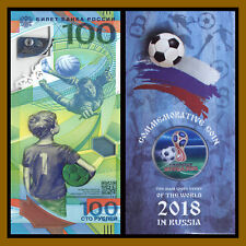 Russia 100 Rubles + 1st Colored Coin in Blister, 2018 FIFA World Cup Soccer, R11